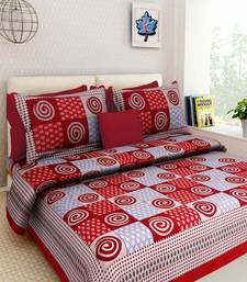 Dreamy Zone Red Cakri Print King Size Bedsheet with 2 Pillow Cover