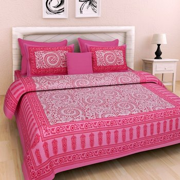 Dreamy Zone Pink Cakri Print King Size Bedsheet with 2 Pillow Cover