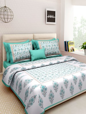Dreamy Zone Aqua Printed Rajasthani King Size Bedsheet with 2 Pillow Cover