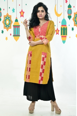 Dijon Yellow Kantha Stitched Cotton Kurti With Front Check And Side Border