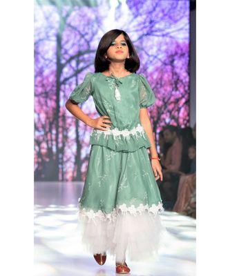 Fern Printed Floral Chiffon Designer Girls Lehenga/Girls Skirt Top with blouse