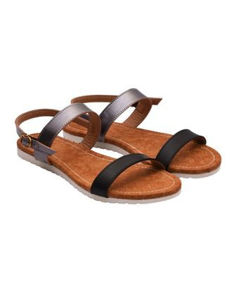 Women Black & Grey Slingback Sandals