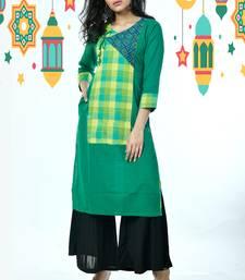 Green Front Checkered Pure Cotton Kurti