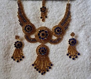 Traditional AD Zircon Stone Blue Fancy Stylish Party Wear Wedding necklace earring mangtika set