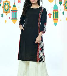 Black Side Panel Cotton Kurti With Knatha Stitch Border