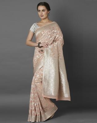 Peach woven viscose saree with blouse