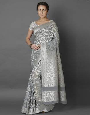 Grey woven viscose saree with blouse
