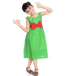 Pure Cotton Frock With Big Bow  Green
