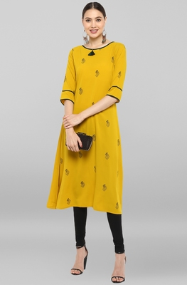 Yellow printed crepe ethnic-kurtis