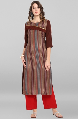 Brown printed crepe ethnic-kurtis
