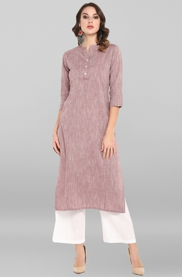 Wine plain cotton ethnic-kurtis