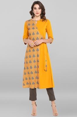 Mustard printed crepe ethnic-kurtis