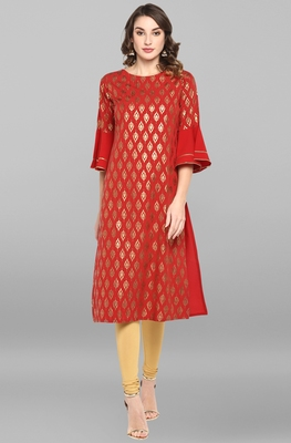 Red printed crepe ethnic-kurtis