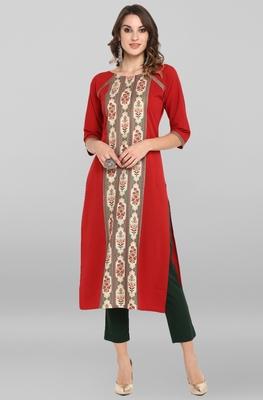 Red printed crepe ethnic-kurtis