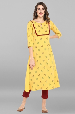 Yellow printed crepe ethnic-kurtis