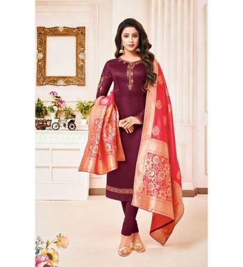 Magenta & Pink Cotton Jam Silk Women's Salwar Suit With Banarasi Dupatta