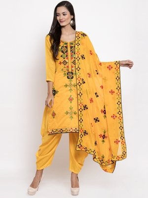 Yellow Chanderi Silk Women's Unstitched Phulkari Dress Material