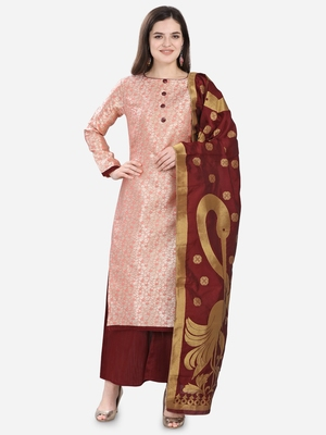Peach & Maroon Jacquard Women's Unstitched Dress Material