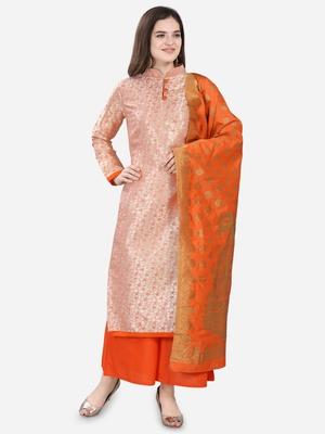 Peach & Orange Jacquard Women's Unstitched Dress Material