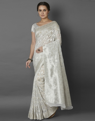 White woven viscose saree with blouse