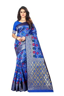 Dark Blue Woven Cotton Silk Saree With Blouse