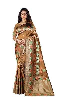 Chiku Woven Cotton Silk Saree With Blouse