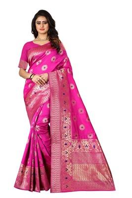 Rani Pink Woven Cotton Silk Saree With Blouse