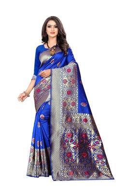 Royal Blue Woven Cotton Silk Saree With Blouse