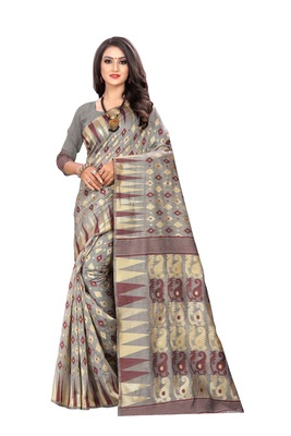 Wine Woven Cotton Silk Saree With Blouse