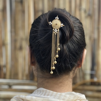 Gold Tone Handcrafted Hairpin With Tassels