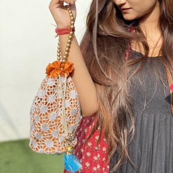 Orange Silver Handcrafted Embroidered Silk Potli