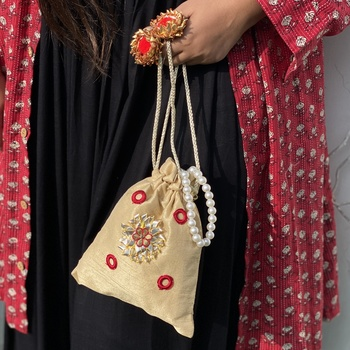 Gold Handcrafted Embroidered Silk Potli