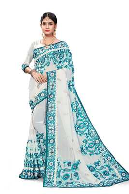 Off White Bemberg Embroidery Traditional Saree