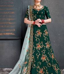 Green thread embroidery silk semi stitched lehenga
