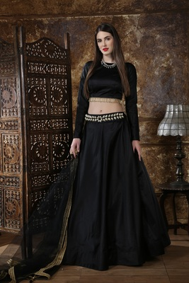 Black self design silk semi stitched lehenga