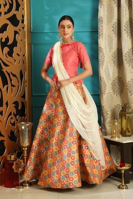 Multicolor jacquard jacquard semi stitched lehenga