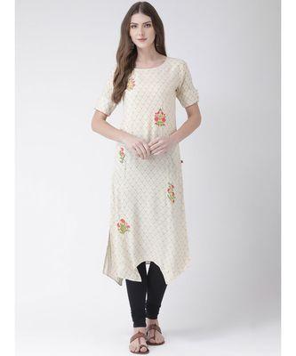 Women's  Beige Silk Straight Kurta