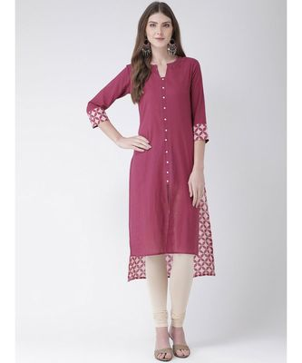 Women's  Pink Cotton Straight Kurta