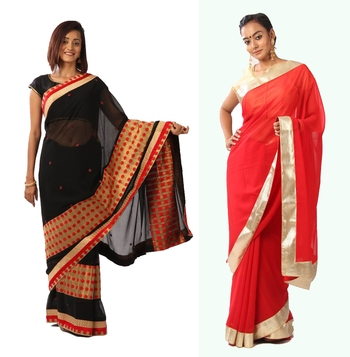 COMBO OF 2 GEORGETTE SAREE WITH BLOUSE