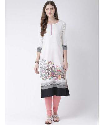 Women's White Crepe Straight Kurta