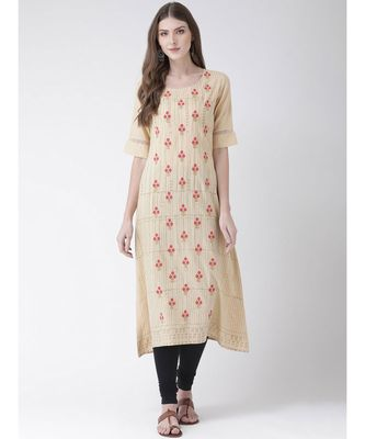 Women's  Beige Cotton A-line Kurta