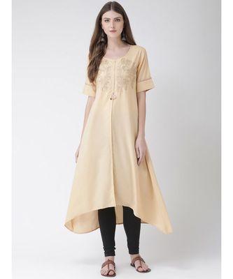 Women's Beige Cotton Silk A-line Kurta