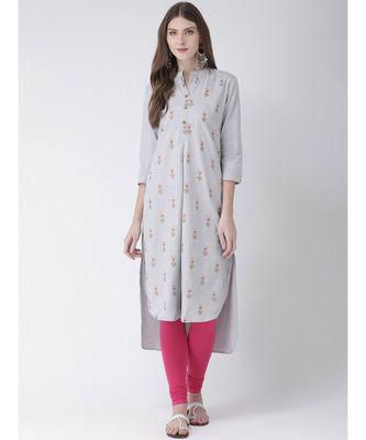 Women's  Grey Cotton Straight Kurta