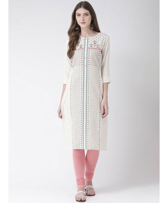 Women's  White Cotton Straight Kurta