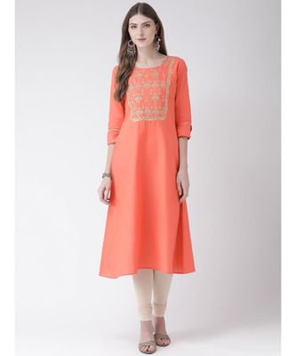 Women's  Pink Cotton Silk A-line Kurta