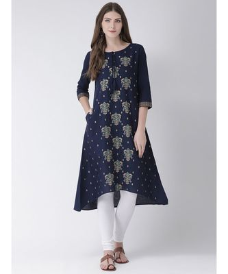 Women's  Blue Cotton Silk A-line Kurta