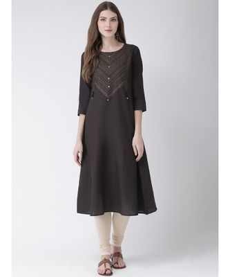 Women's  Grey Cotton A-line Kurta