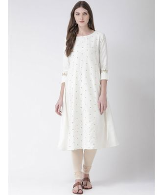 Women's White Cotton Silk A-line Kurta
