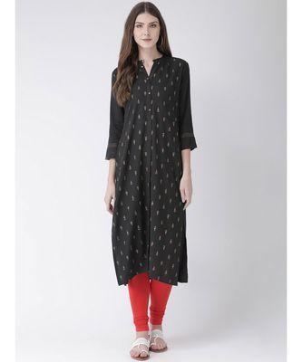 Women's Grey Rayon Straight Kurta