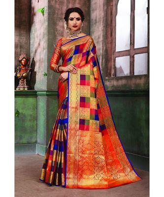 Multicolor Banarasi Pure Silk Checks Jacquard Work Traditional Saree